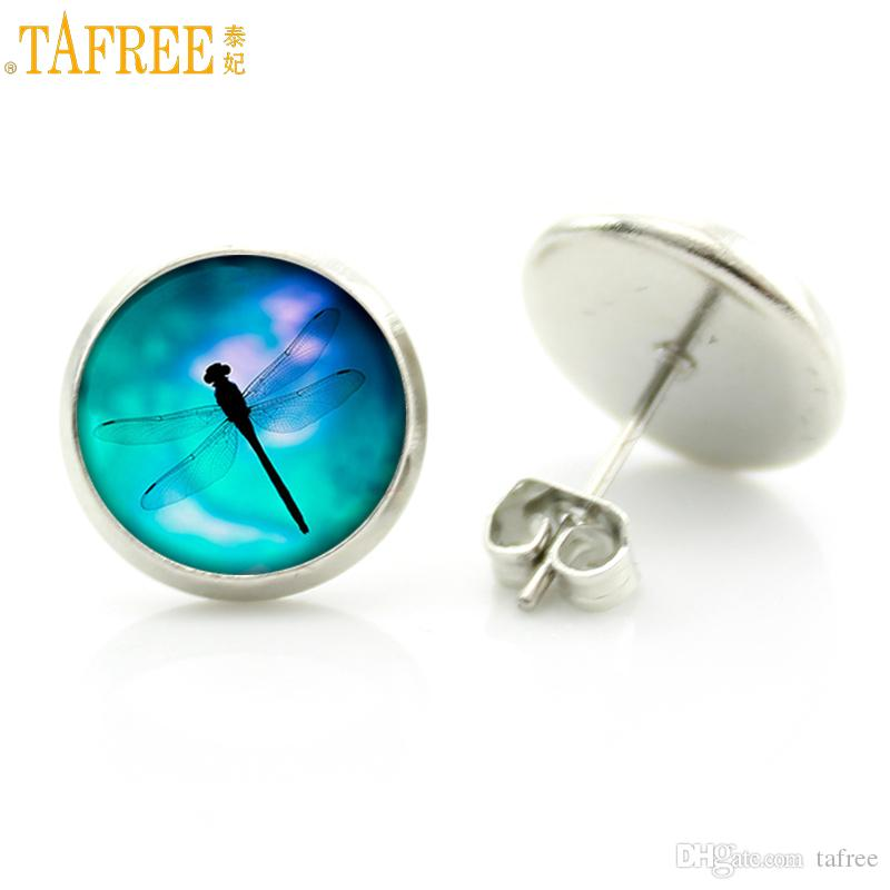 DRAGONFLY CABOCHON GLASS STUD EARRINGS 12MM