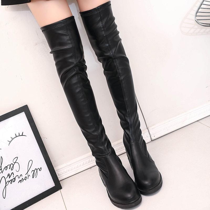 SWYIVY Женщины над коленом Boots 2019 Зимняя обувь женщина тонкий сексуальный Черный Длинные сапоги Кожа PU скольжения на Snowboots Блок каблука T200520