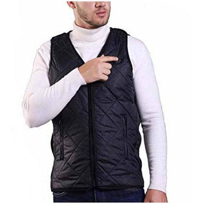Intelligente di ricarica USB in fibra di carbonio grafene colore puro riscaldamento vest uomini cappotto del cotone con scollo a V inverno riscaldata Vest # G35