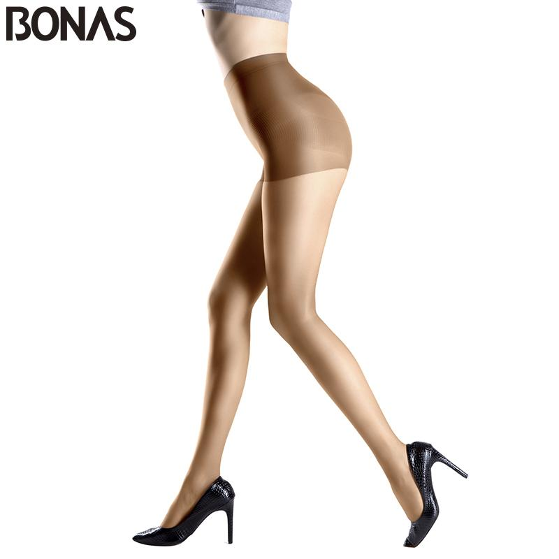 Socks & Hosiery BONAS Fashion Solid Color Sexy Nylon Stretchy Pantyhose Women's Tights Lady Spandex Resistant Black Stocking