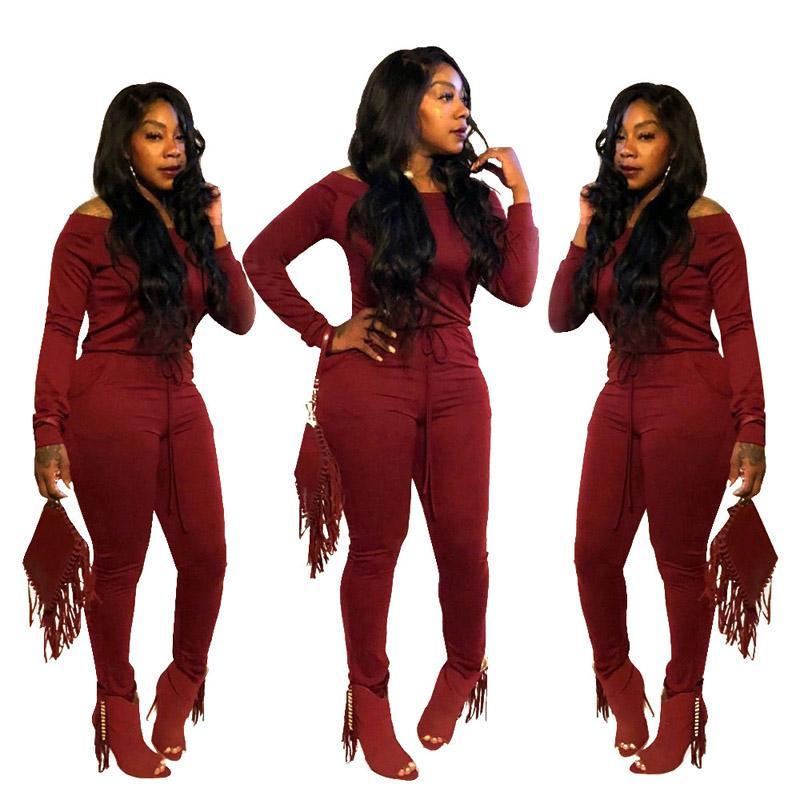 여자 jumpsuts 가을 겨울 옷 솔리드 컬러 꽉 슬래시 목 잠수복 주머니 빨간 jumpsuits xl 811