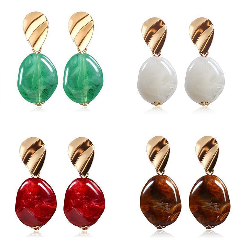 Einfache Geometrie Oval Acryl, Anhänger, Ohrringe baumeln Unregelmäßige Charm Ohrring-Frauen Designerschmuck Statement Geschenke 4Colors