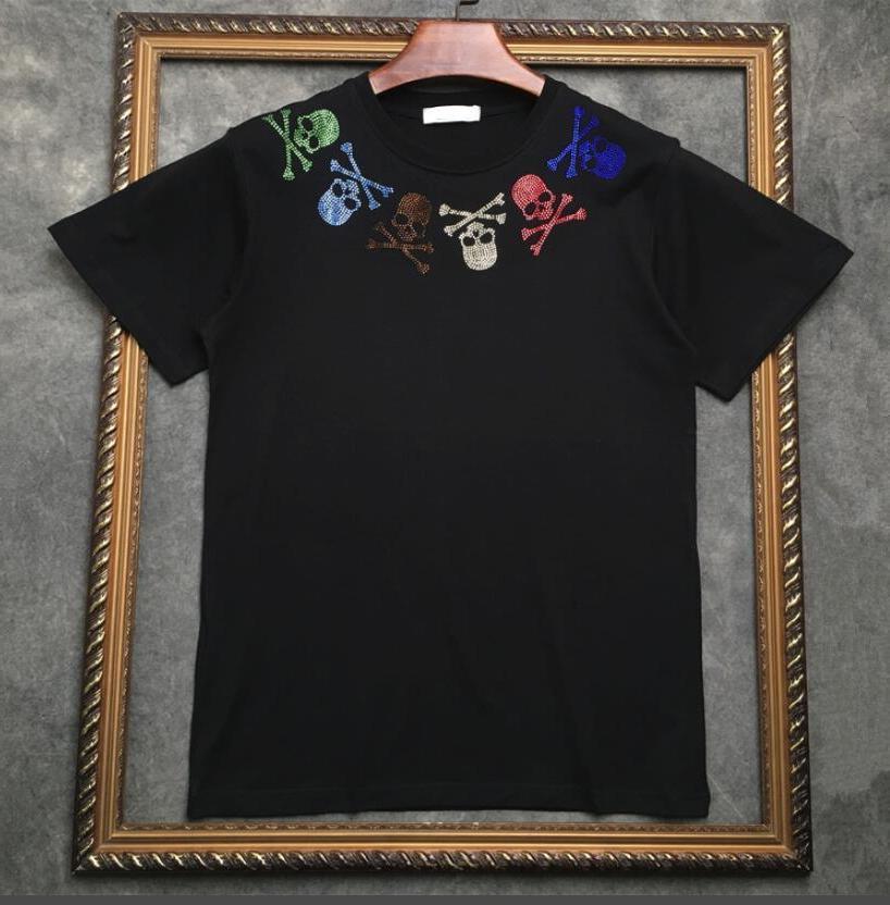 2019 Marca tag Luxo Mastermind Japão MMJ Runway tee homens decote cor Hot crânio de perfuração de impressão camisa t moda tshirt Designer Hiphop te