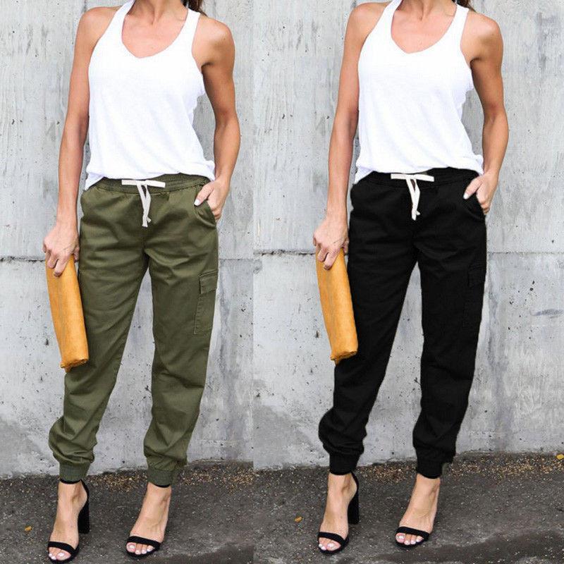 Casual pantalones sueltos Harem de las mujeres elásticos pantalones de cintura alta de las señoras OL pantalones con bolsillo otoño Pantalones Casual
