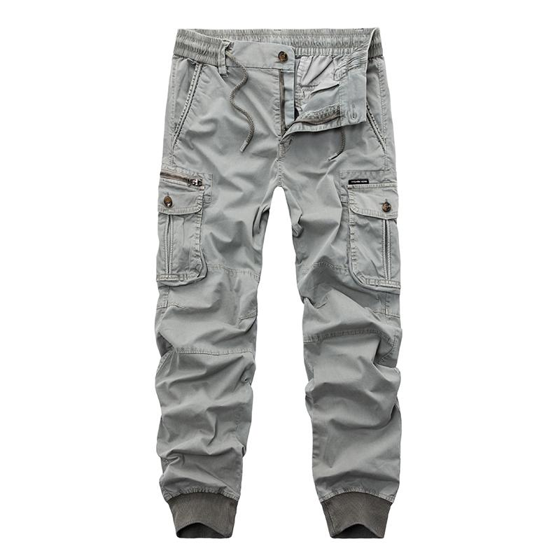New 2019 Brand Casual Joggers Solid Color Pants Men Cotton Elastic Trousers Military Style Army Cargo Pants Mens Leggings 29-38 Y19042201