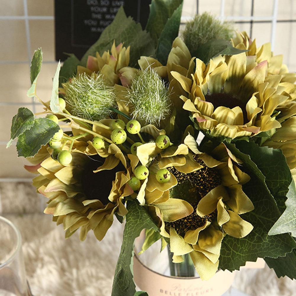 Mariage Décoration artificielle de tournesol Bouquet de fleurs en soie Real Touch Faux Fleurs Floral Accueil Party Supplies Jardin