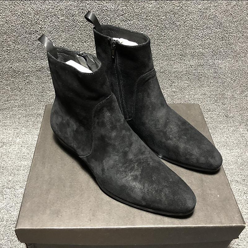 Stiefel Vintage Black Wildleder Wedge Slip-on Männliche Western Nähing Cowhide BROGE Formale Geschäftsleute