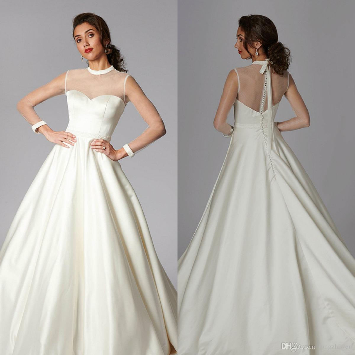 Cubierto de espalda de una línea Vestidos de novia Sheer Cuello de manga larga satinado MÁS Tamaño Vestido de novia Tren de barrido Robes de Mariée