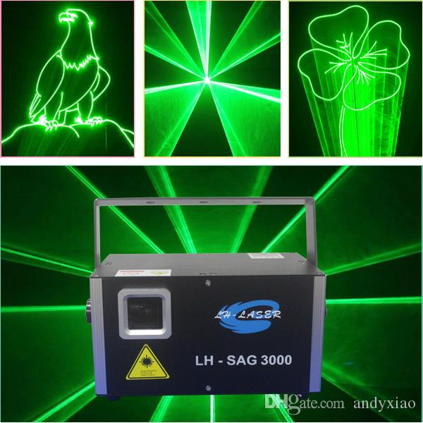 Interfaccia ILDA e scheda SD 3000mw luce laser verde singola / barra laser KTV club / luce laser da palco