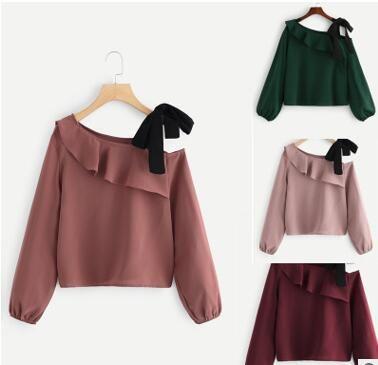 2019 a Europa e os Estados Unidos para emendar multi-elementos de camisa de chiffon com uma camisa arco redução idade moda (doce ombro de orvalho)