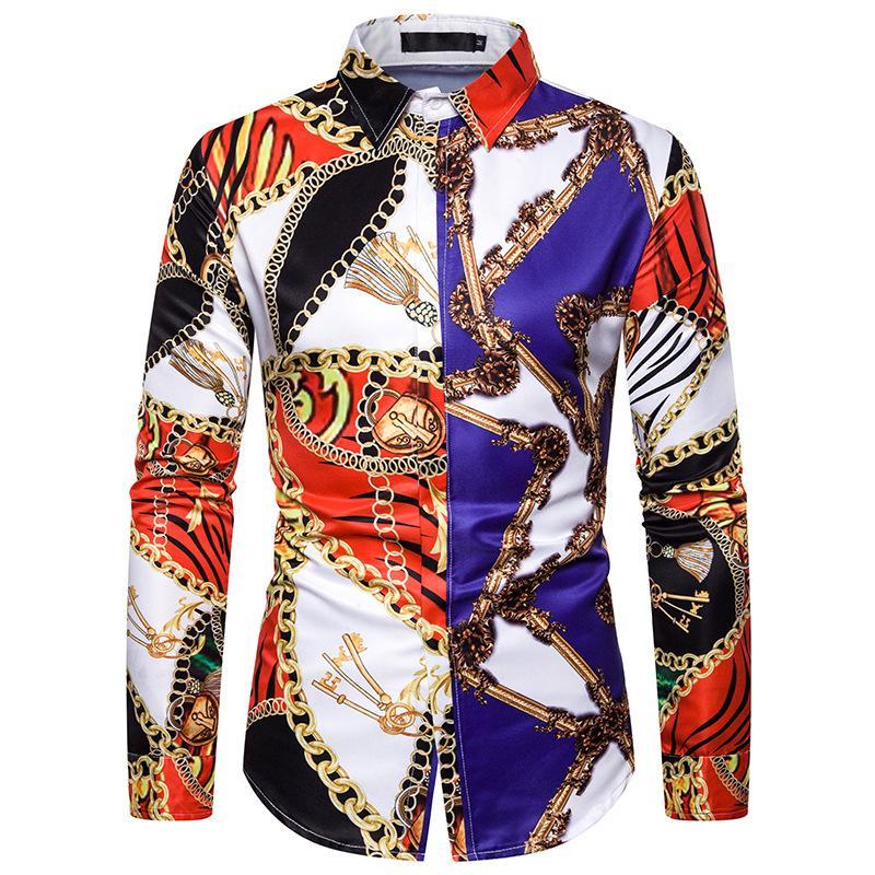 Vintage Luxury Baroque Mens Button Down Dress Shirt Tuxedo Shirts 2019 Fashion Stage Streetwear Show Shirt Men Camisa Masculina