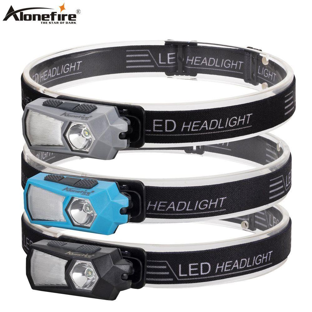 Alonefire HP49 Mini cabeza de la lámpara a prueba de agua COB trabajo LED linterna del faro encendido de la antorcha con la diadema linterna Escalada Ejercicio Portátil