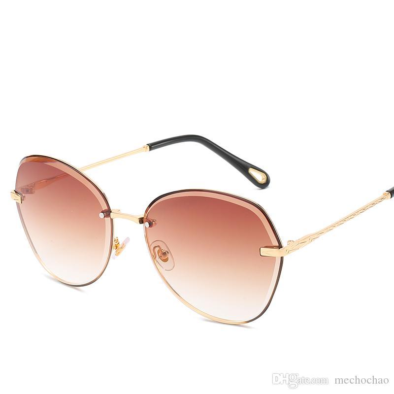 Nuevas gafas de sol de mujer de gama alta sin montura Gafas de sol polarizadas de moda Gafas de sol de diseñador de marca con montura dorada de polígono Lentes HD para enviar la caja