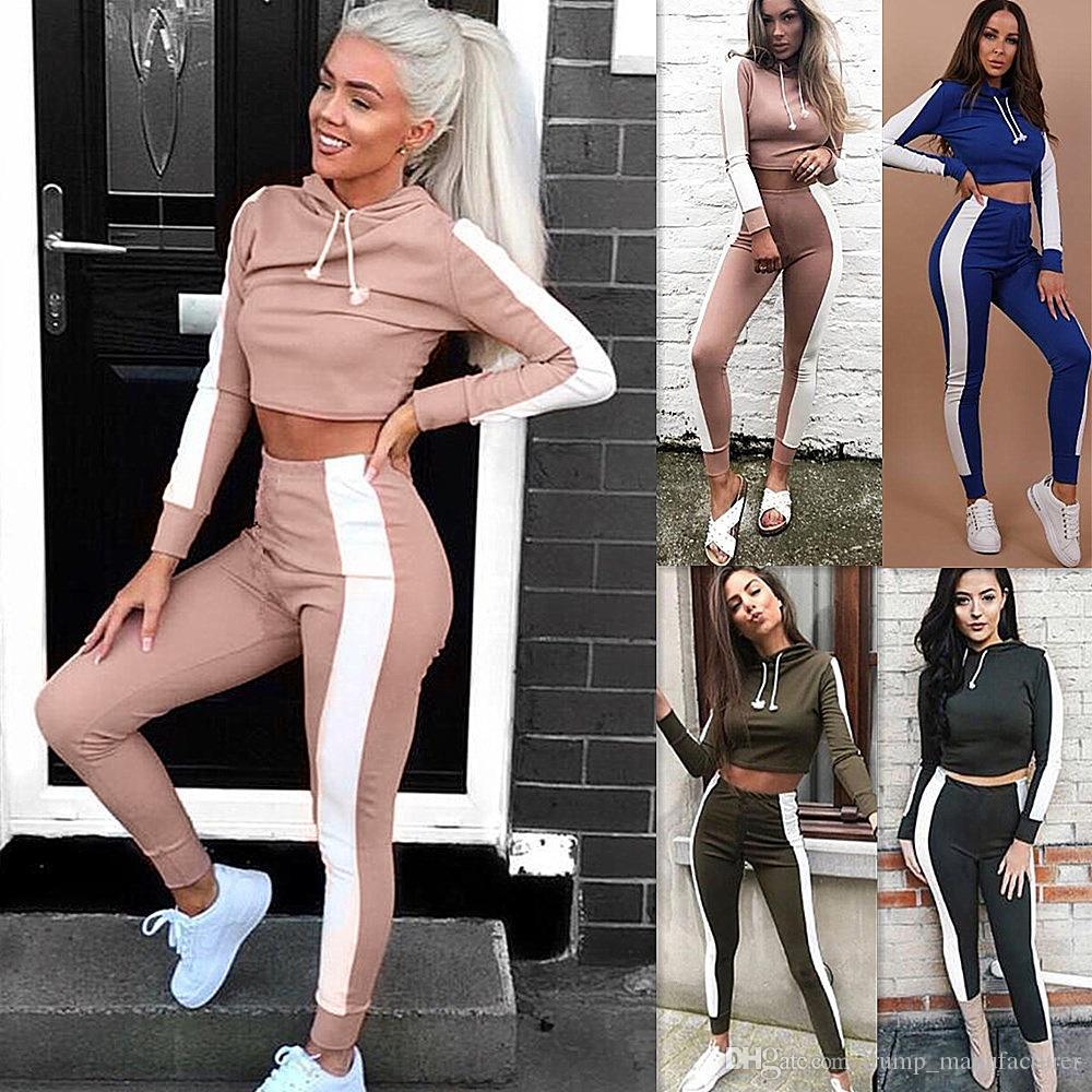 여성 두 조각 의상 스포츠웨어 후드 탑 + 바지 여성 패션 의류 2 종 세트 2 개 의상 여자 운동복 로파 드 mujer 여자
