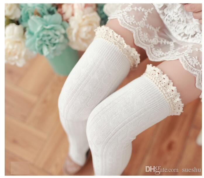 Fashion Women Lace Over Knee high stockings Thigh high stocking design socks 8 colors drop shipping 100% cotton White Free shipping Cheap