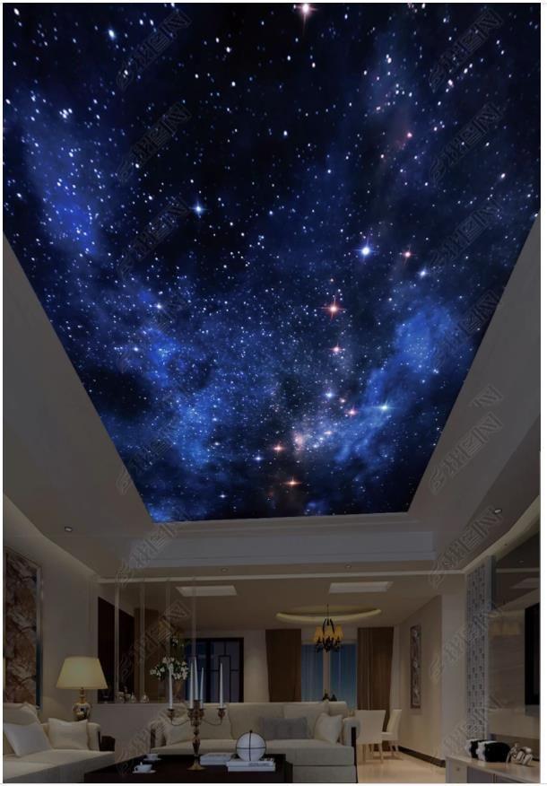 Wholesale-Interior Ceiling benutzerdefinierten Foto 3d Decke Wandbild Tapete Schöne Sternenhimmel HD Fantasy Zenit Decke Wandbild