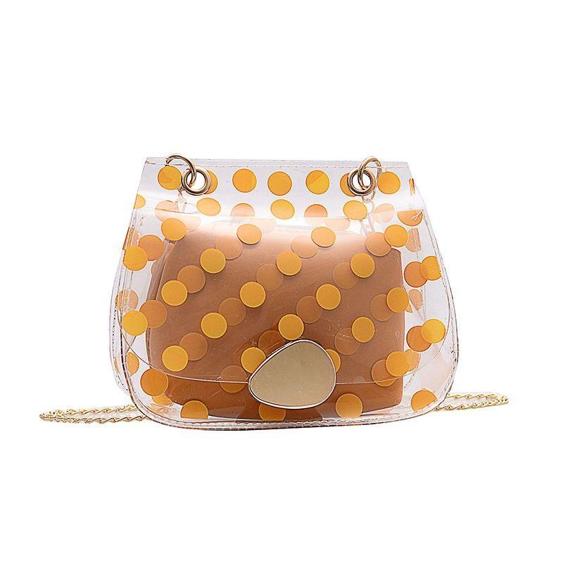 Frauen Messenger Bag Jelly Transparent Kette Umhängetasche Tupfen Small Square Einfache Messenger