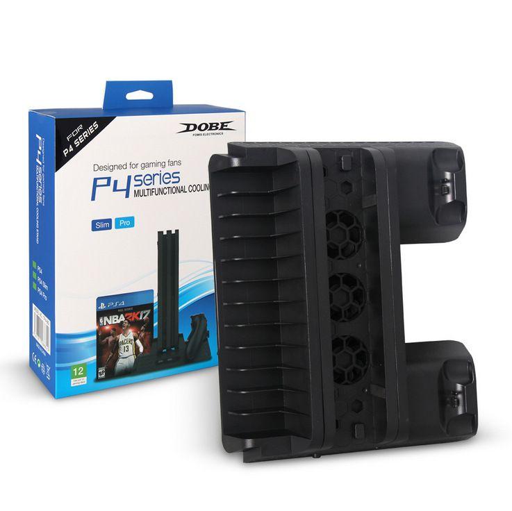 PS4 / SLIM / PRO متعدد الوظائف التبريد قاعدة قاعدة PS4 مروحة تبريد + قرص الرف الشحن + مزدوج المسؤول TP4-882 حدة تحكم لعبة