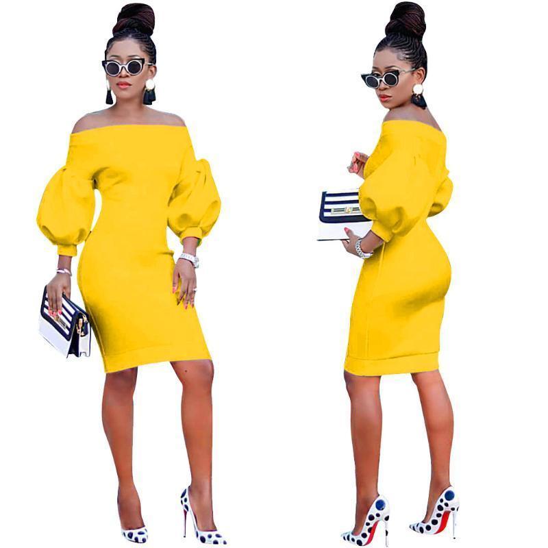 Tasarımcı Slash Boyun Puff Uzun Kollu Elbiseler Kadınlar Asimetrik Elbiseler Kadın İlkbahar Sonbahar BODYCON Elbiseler Moda
