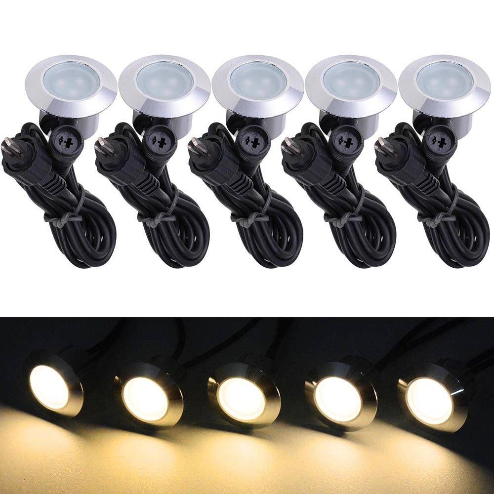 LED Lanscape Lights Lighting 5pcs Warm Lawn Lamps White LED Deck Lights Outdoor Landscape Lamps Low Voltage Waterproof