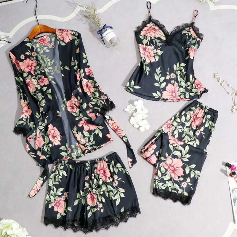 4 قطعة المرأة زهري ملابس النوم مجموعة ربيع وصيف رقيقة النوم رداء + أعلى + شورت + بانت دوت زهرة الرباط نوم مثير مجموعات Homewear