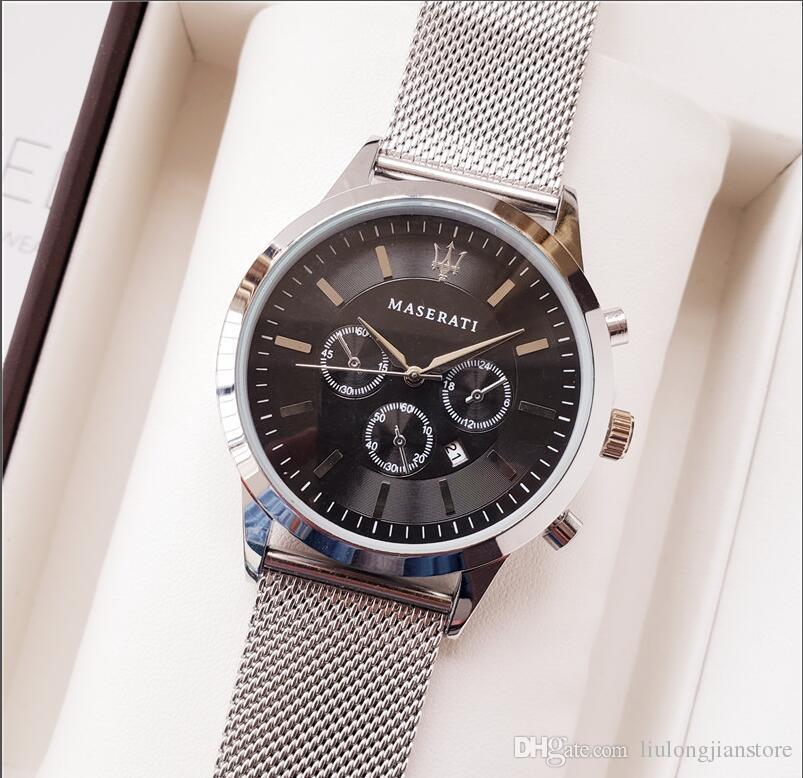 Relogio masculino Luxusmänneruhr-Großhandelsart- und weisedesignerdiamant schwarzen Vorwahlknopf mit faltendem Haken-Vorlagenleder männliche Uhr