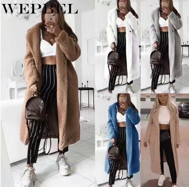 WEPBEL 여성 양모 혼합 두꺼운 따뜻한 겨울 가을 캐주얼 패션 전체 슬리브 긴 숙녀 블렌드