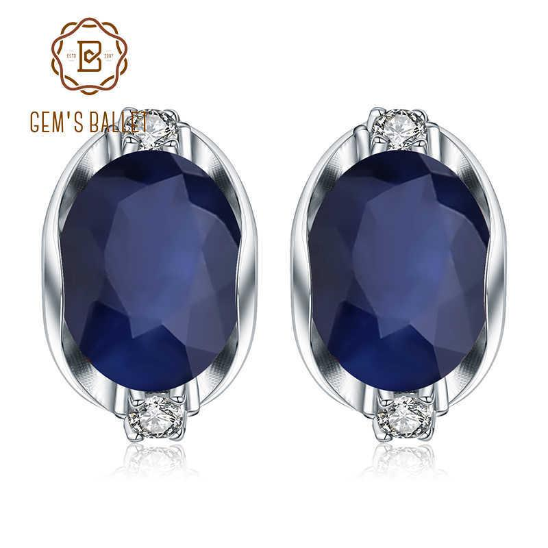 Gem's Ballet 925 Sterling Silver Stud Earrings 6.48ct Natural Blue Sapphire Earrings For Women Engagement Jewelry New Brand Y19052401