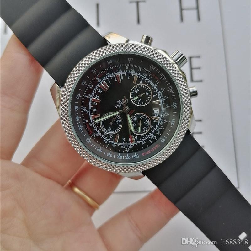 The Luxury New Brietling relógio de alta qualidade Marca Quartz Movementl Mens Watch Navitimer mostrador preto 46 MM Strap Silicone Moda Relógio Masculino