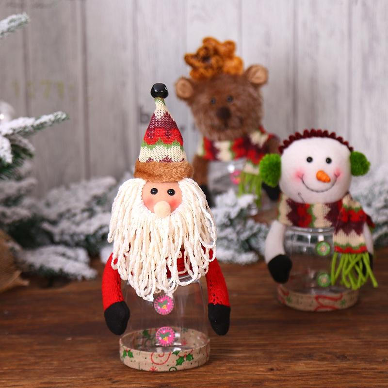 Clear Plastic Christmas Candy Box Holiday Decorative Storage Jar Container Gift Bottle Holder Xmas Ornament Holiday Party Decor