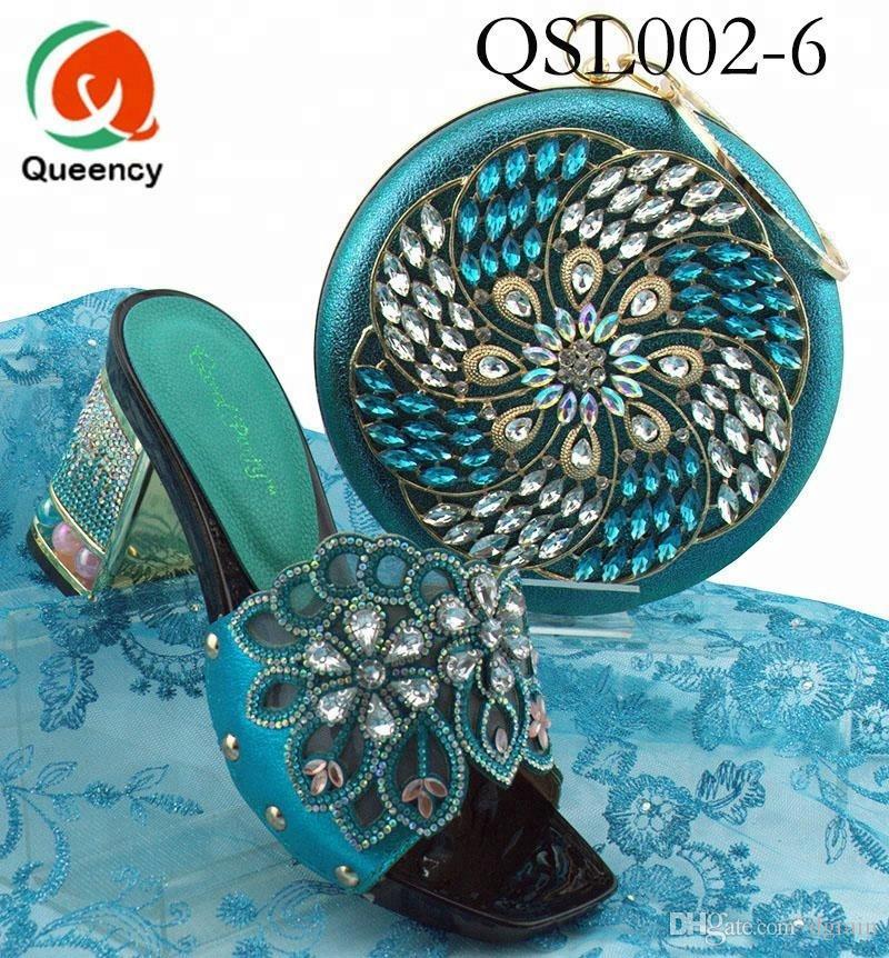 Dgrain Hochwertige Mode Großhandel Kristall Runde Tasche Set Italienische Schuhe Und Passende Taschen Für Afrikanische Frauen