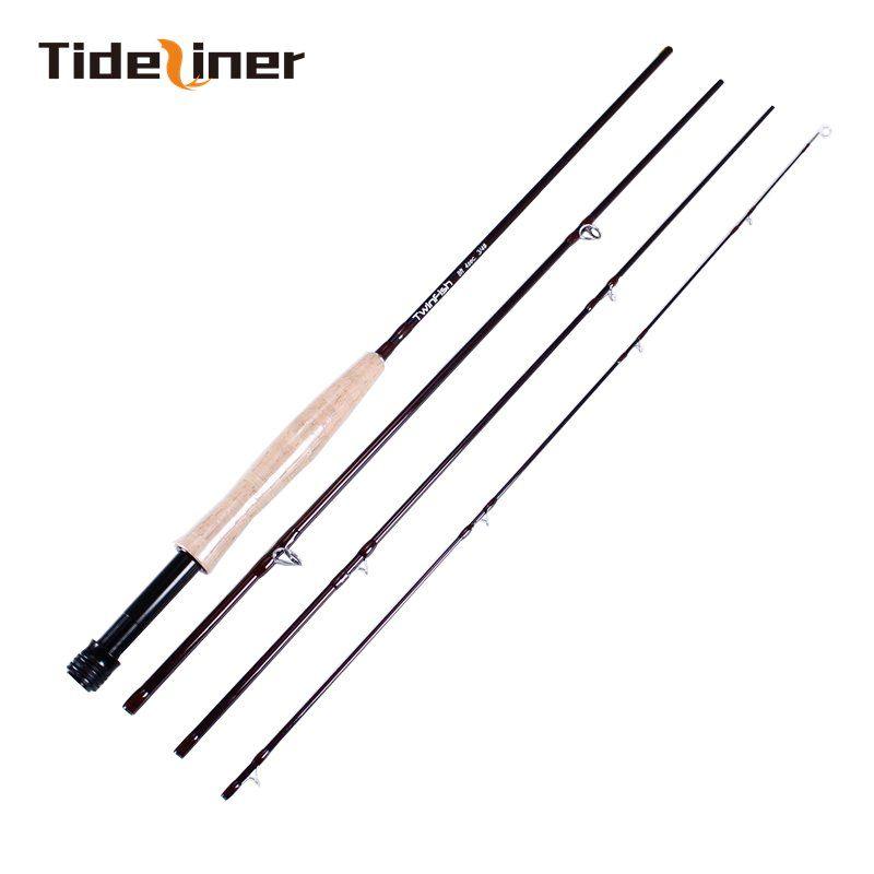Tideliner 플라이 낚시대 탄소 섬유 방적 막대 2.4m 8ft 3 / 4 # 플라이 낚시장 4 개 코르크 처리 느린 액션 낚시 태클