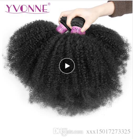 Afro Kinky Curly 브라질 버진 헤어 1/3/4 번들 Human Hair Weave Natural Color 100G