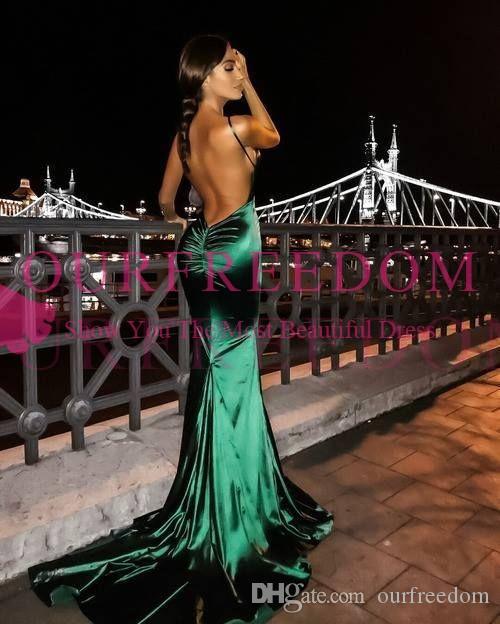 2020 v cou dos nu émeraude vert robe de bal de balayage train train élastique en satin longueur au sol Occasion formelle soirée robes de soirée sur mesure
