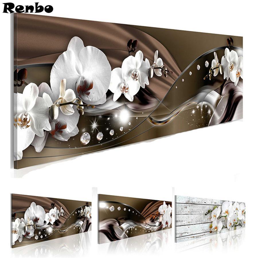 أبيض جميل أزهار الأوركيد الماس الرسم حجر الراين 5D DIY الماس التطريز، عبر الابره، الماس الفسيفساء بيع، جدار ديكور T200111
