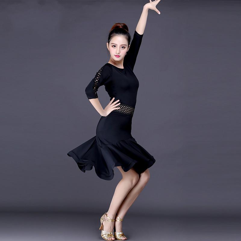 Сексуальное Взрослое Платье Латинского Танца Черные Костюмы Конкурса Современного Танца Профессиональная Мода Sumba Rumba Tango Performance Wears