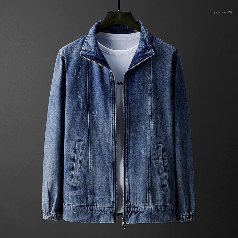 Sleeved нагрудные Омывается вскользь тонкая куртка дизайнер Мужской пальто весна Mens Denim Jacket Solid Color Long