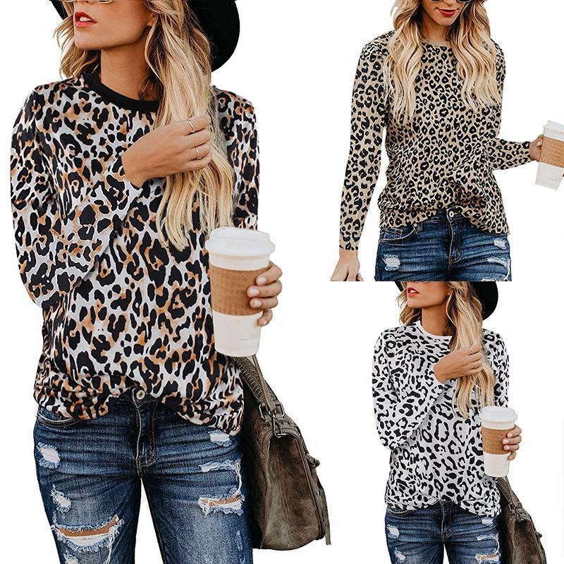 Mujeres atractivas Tops Camisa de manga larga Camiseta con estampado de leopardo Señoras O-cuello Chic Impreso Tops Camisetas Camisetas Ropa femenina LJJA2826