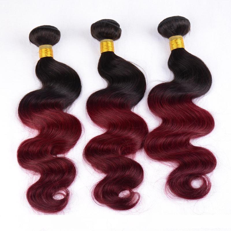 А Ирина 1б Бургундская Ombre 99J бразильские волосы Two Tone Body Wave волос соткать Полный Пучки 10 -28inch 3шт Лот Ombre расширения человеческих волос