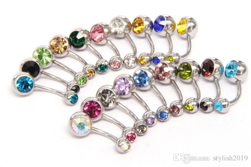 Nuovo 316L in acciaio chirurgico rianco ombelico anelli di cristallo strass pancia bottone navello bar anello anello corpo gioielli piercing wcw640