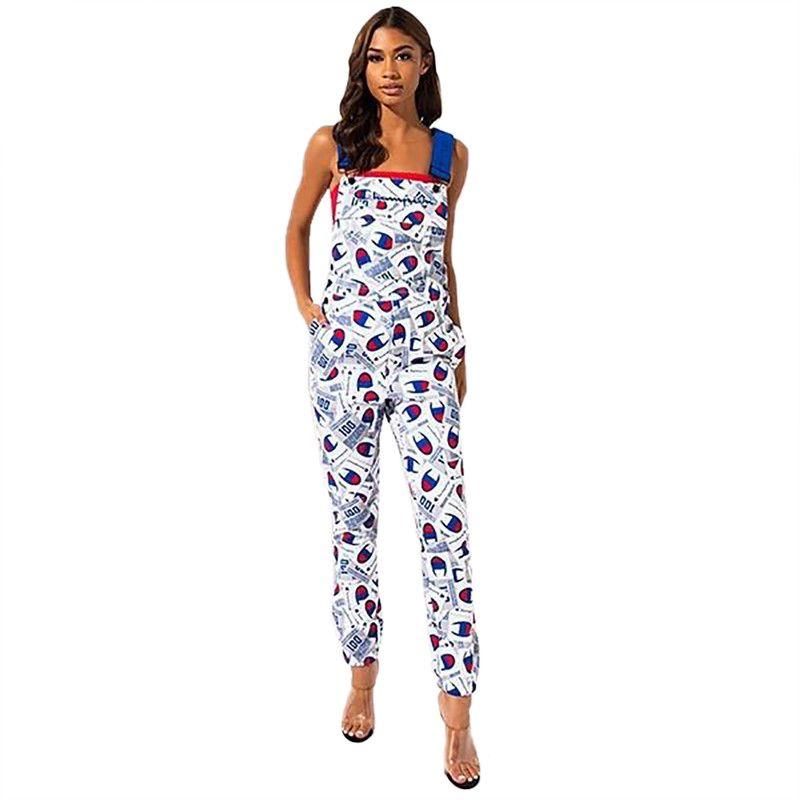 Şampiyonlar Kadınlar Jumpsuit Letter 1650 Suspenders Giyim Güz Yaz Moda Açık tulumları Günlük Giyim S-XL tulum yazdır