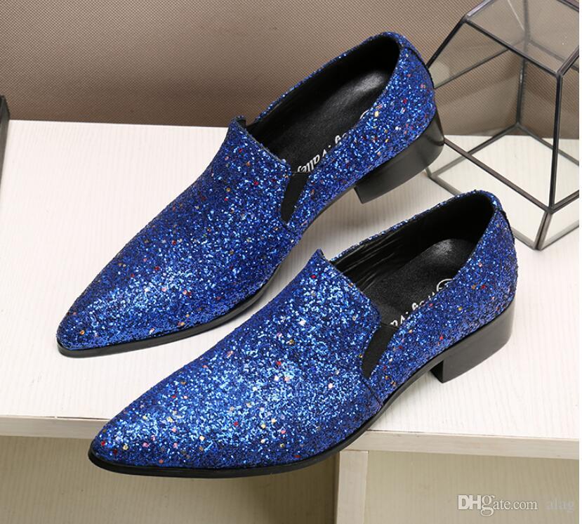 2019 nuovo arrivo uomini caldi di vendita slip mocassini con paillettes scarpe casual da uomo glitter appartamenti colori dorati scarpe da uomo vestito EUR38-46