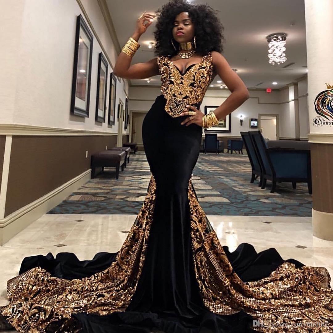 Altın Payetli Mermaid Gelinlik Modelleri V Boyun Güney Afrika Siyah Kızlar Abiye giyim Artı Boyutu Özel Durum Elbise Abendkleider 2K19