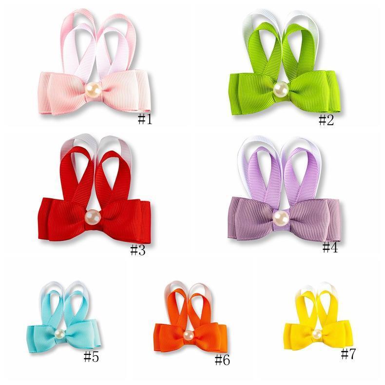 7color Pâques Barrettes filles Lapin de Pâques Hairpins Ruban bébé Bow Barrettes Avec Perle Enfants Cheveux Accessorie