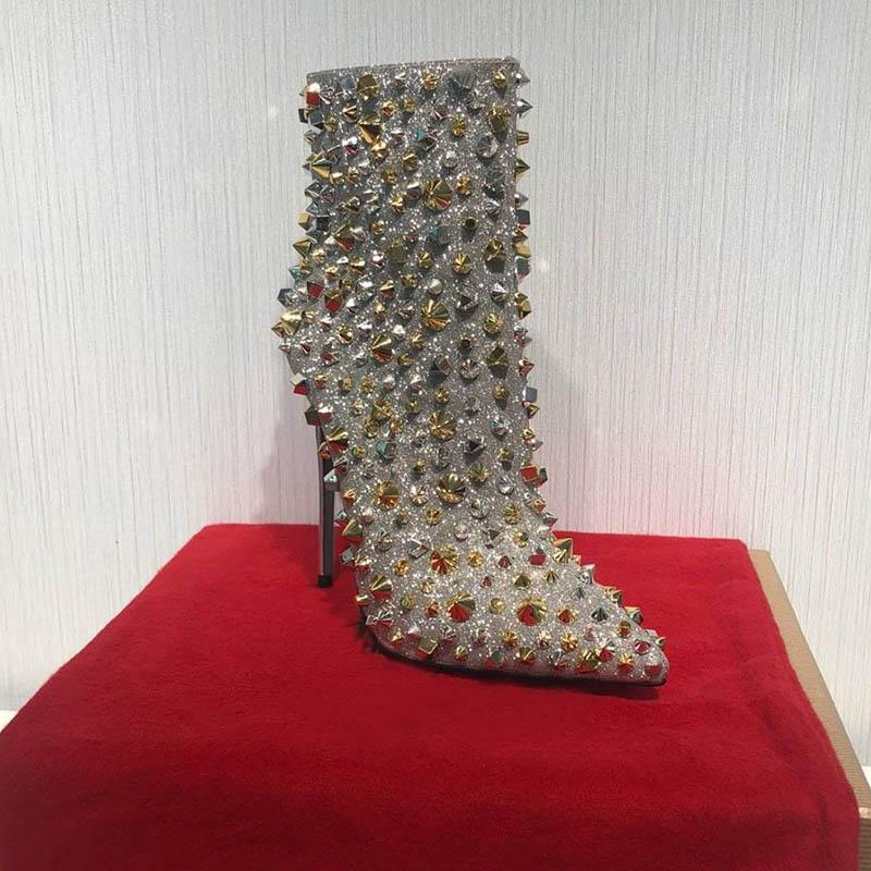 Дизайнерские женские сапоги Красное дно высокий каблук 10 см женская половина лодыжки короткие зимние ботинки снега рыцарь заклепки ботильоны с коробкой