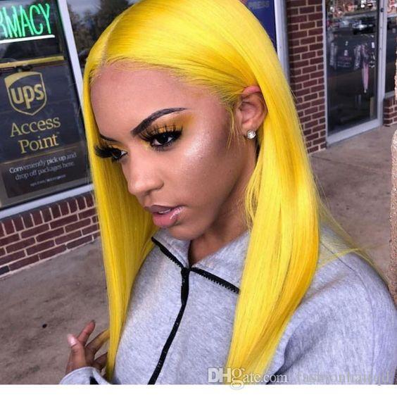 Yellow Long Bob Lace Front Human Hair Wigs