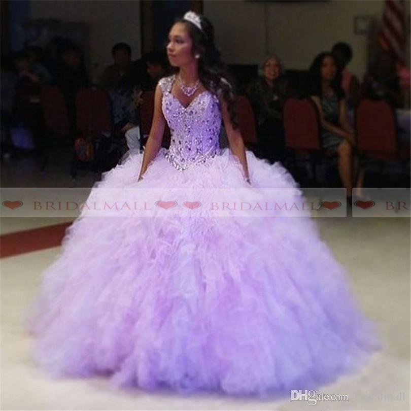 2019 lilas robe de bal robe de Quinceanera robes gonflées jupe strass perlée douce 16 robe pendant 15 ans robes Debutante Plus la taille sur mesure
