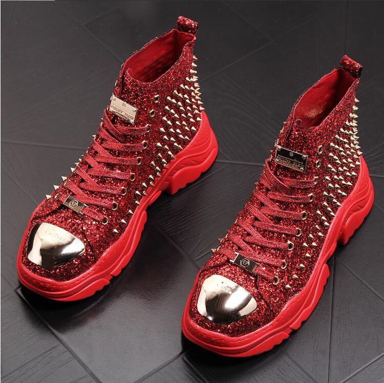 Hombres remaches de diseño botas zapatillas de deporte de los hombres de lujo altas cumbres de punk hombres zapatos casuales de hojalata zapatos de plataforma zapatillas hombre