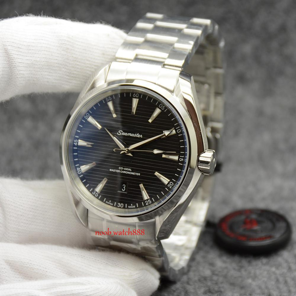 Топ черный циферблат Master Aqua Terra 150M Мужские 42мм автоматические механические Коаксиальная Нержавеющая сталь Стекло Вернуться Спорт море Мужские часы наручные часы