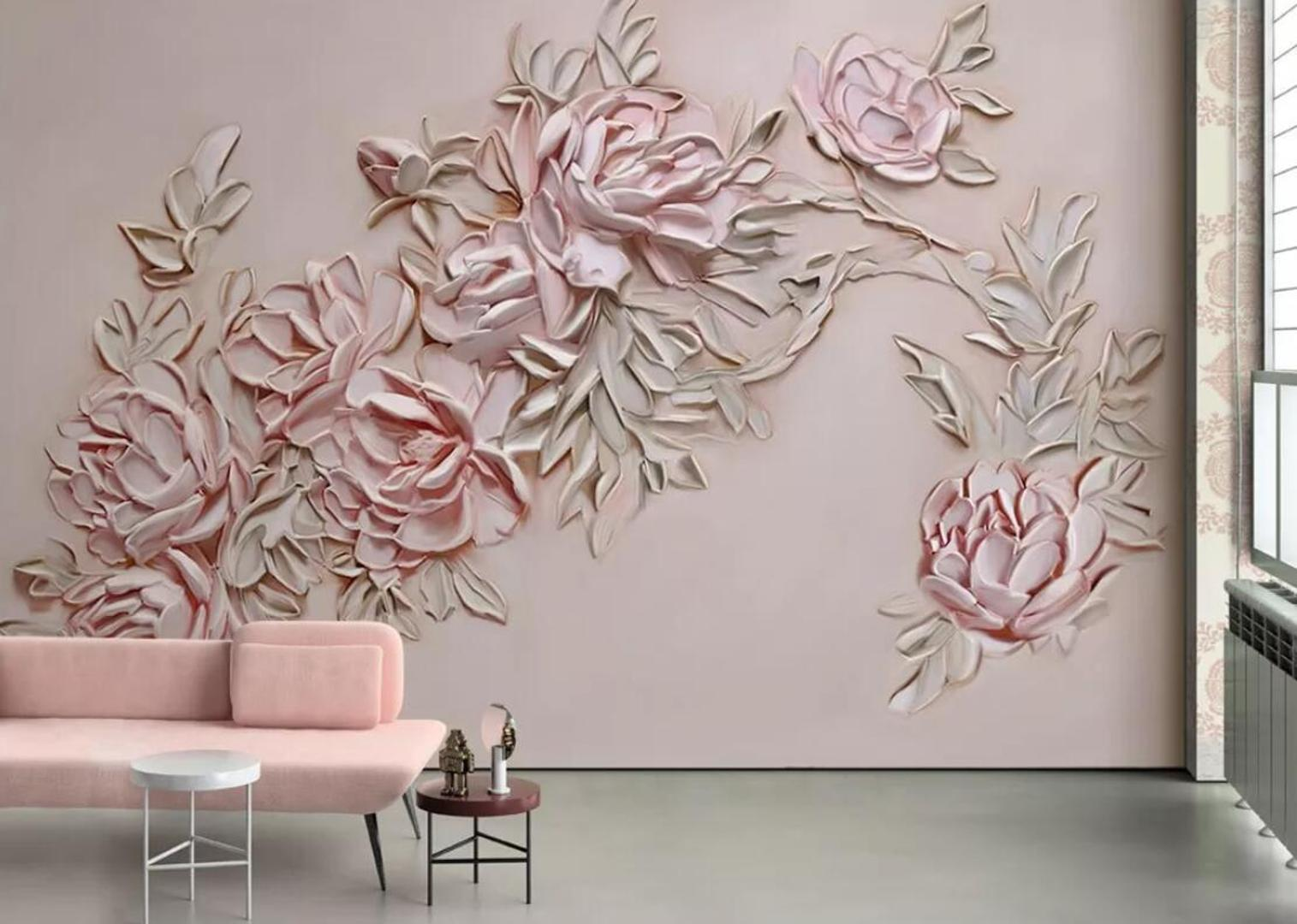 Pink Flower Wallpaper 3d Wall Murals Hand Painted Embossed Rose